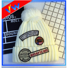 Patch Beanie Hat Embroidery Pom Pom Knitted Hat