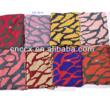 PK17ST308 fashion100% acrylic jacquard colorful leopard knitted scarf fashion scarf