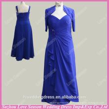 RP0044 vestido de amostra real meia jaqueta jaqueta em penteado superior comprimento de piso com contas longas vestidos de noite azul chiffon vestidos de noite
