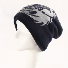Mens Soft Stretch Winter Knitted Double Layer Lion Jacquard Warm Cap Beanie Hat (HW421)
