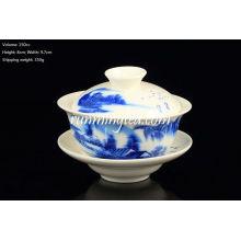 Venda quente azul Paisagem Pu Er Gaiwan com pires, copo de chá (150cc)