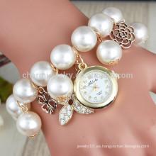 2015 Reloj de cuero largo de la pulsera de la perla de los relojes del cuarzo de la muñeca de las mujeres del rhinestone cristalino libre del reloj de la pulsera del abrigo de la manera nuevo BWL012