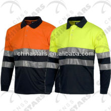 Reflective Polo Shirt Long Sleeves Plain or Contrast Color