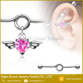 Surgical Steel Pink Clear Heart CZ Angel Wing Charm Dangle Ear Industrial Barbell