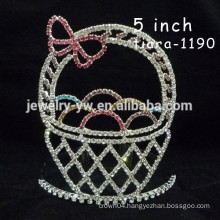 fashion metal silver plated crystal basket shape accessories for women