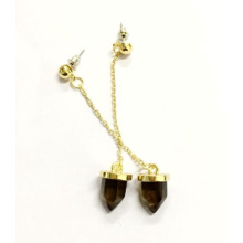 Simple and Elegant Bullet Drop Stone Earring