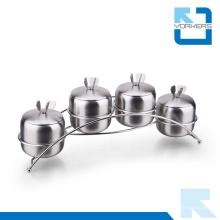 4 piezas de acero inoxidable de especias azúcar sal pimienta condimento envase de alimentos