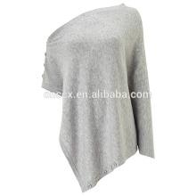 PK17ST124 Button Wrap mélange de laine wrap poncho