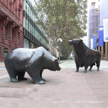 Décoration publique grand extérieur en laiton taureau et ours en bronze sculpture