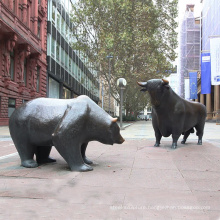 Public decoration large outdoor brass bull and bear bronze sculpture