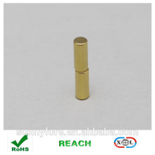 Dia 5x20mm gold coating round magnet