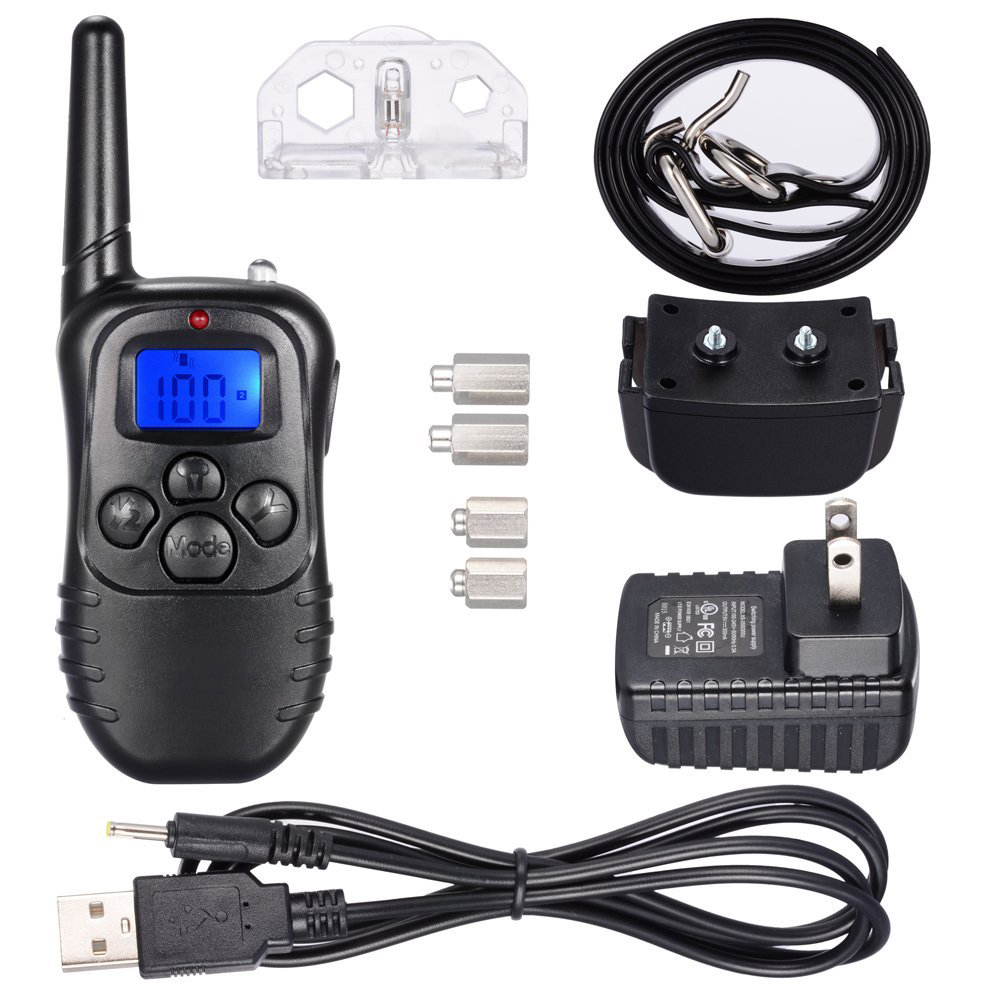 300m Remote Dog Training Tpu Collar Rechargeable And Waterproof Vibration Shock Electronic Electric 100level Anti Bark 4