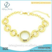 Joyas de moda precio barato acero inoxidable chapado en oro pulsera de locket