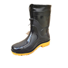 Black plastic men fashion rubber gumboot pvc gumboots with steel toe for industry and agriculture for africa