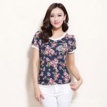Summer New Style Women′s Flora Print Custom Design T-Shirt