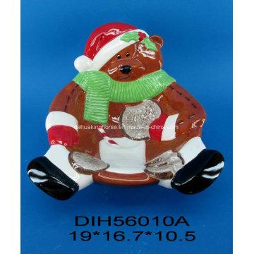 Ручная роспись керамической чашки конфеты медведь для рождественских украшений