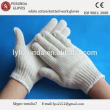 700g natürliche weiße Baumwolle gestrickt Arbeit Handschuhe bulk billig Preis in China gemacht