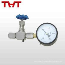 robinet à pointeau de débit d'eau en acier inoxydable 1/4 ''