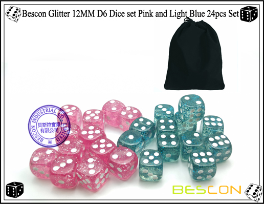 Bescon Glitter 12MM D6 Dice set Pink and Light Blue 24pcs Set-6