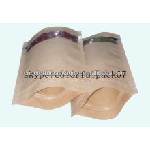 Paper Bag with clear window/BOLSAS DE PAPEL KRAFT ZIPLOCK BAG/glassine paper bag