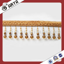 Golden Polyster Beaded Tassel Fringe For Curtain Decorative Gold Lace Trim
