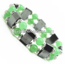 Magnetic Hematite Space Bracelet with alloy and 8MM Green Aventurine Round Beads