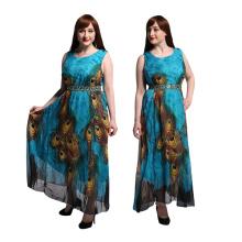 Moda feminina premium chiffon pavão impresso vestido