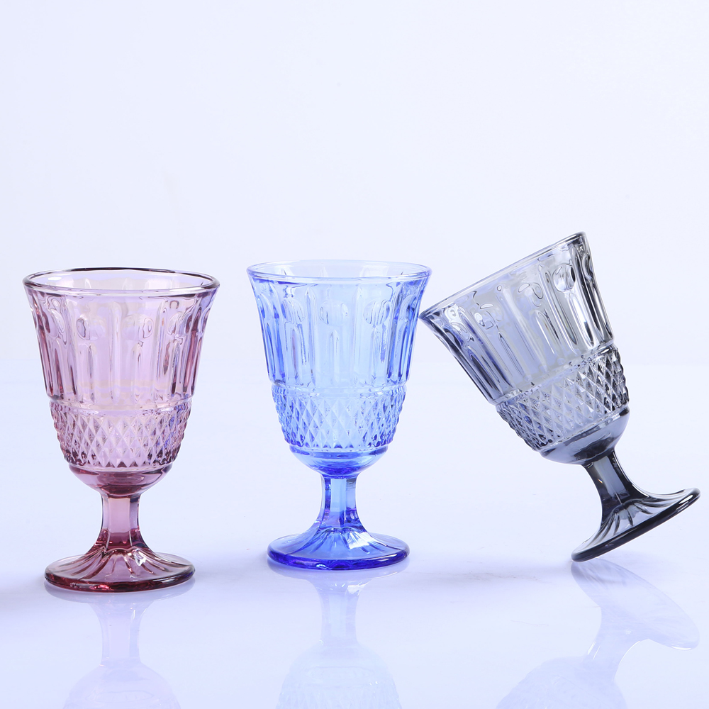 Br 9999wine Glass With Rhombic Lattice Pattern For Home Decoration Juice Cup