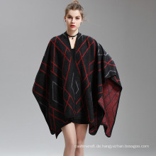 Womens Cashmere Feel überprüft Diamond Printing Fancy Cape Stola Poncho Schal (SP290)
