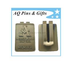 Clip en argent en métal en forme de carré avec logo 3D (Golf-025)
