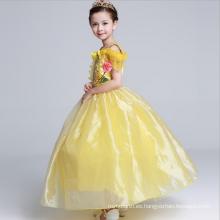 Correa de espagueti ropa más nueva para Hallowmas colorido niños amarillo cartton papeles traje largo piso longitud vestidos de niña