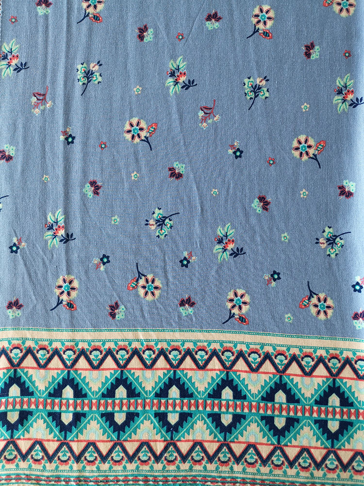 Border Design Rayon Twill 3024S Printing Woven Fabric