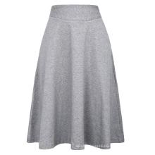 Kate Kasin Occident Women's High Stretchy Grey Cotton High Waist A line Flared Skirt KK000279-3