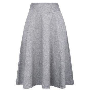 Kate Kasin Occident Frauen High Stretchy Grau Baumwolle Hohe Taille Eine Linie Flared Rock KK000279-3