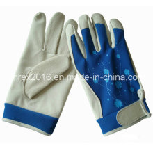 Pig-Skin Palm Spandex Back Garden Working Flower Gloves