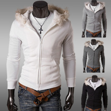 Зимний толстый теплый белый хлопок Мужчины куртка / пальто