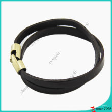 Schwarzes Leder-Anti-Messing-Edelstahl-Haken-Armband (LB)