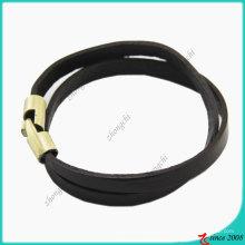 Pulseira de fecho de aço inoxidável anti-latão de couro preto (lb)