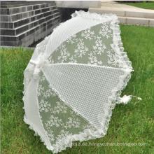 Weißer Spitze-Braut-Sonnenschirm-Hochzeits-Regenschirm-Blumenspitze-Hochzeits-Regenschirm