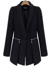 Plus Size Winter Fashion Women Solid Black Turn-Down Collar Long Sleeve Coat