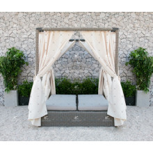 2017 Luxurious Design PE Wicker rattan en plein air double daybed avec canopée
