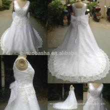 Echtes Foto 2014 Neues weißes Ballkleid-Hochzeits-Kleid mit rückseitigem Bogen V-Ansatz langes Endstück-Spitze Applique wulstiges Spitze-oben Brautkleid NB0861