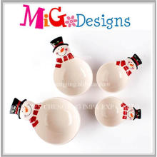 Christmas Gift Set of Four Ceramic Snowman Bowls