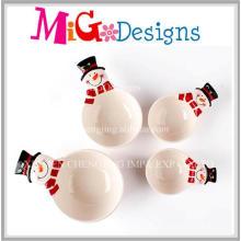 Conjunto de presente de Natal de quatro tigelas de boneco de neve de cerâmica