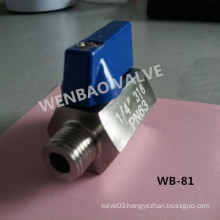 1/4 Inch Butterfly Handle 316 Mini Ball Valve M/F