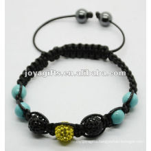 shamballa macrame disco ball bracelet with turquoise beads