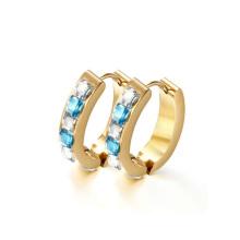 Runde Huggie Diamant Creolen, Gold Kristall Huggie Hoop Ohrring