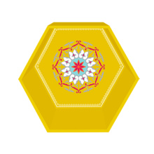 Golden yellow hexagon display