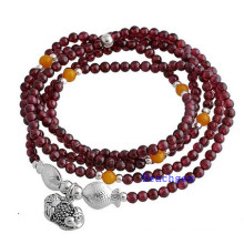 Natural Garnet Beads Bracelet with Silver Charm (BRG0026)