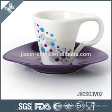 180CC 12pcs Porzellan Kaffeetasse und Untertasse, farbiges Tassenset, Kaffeetasse